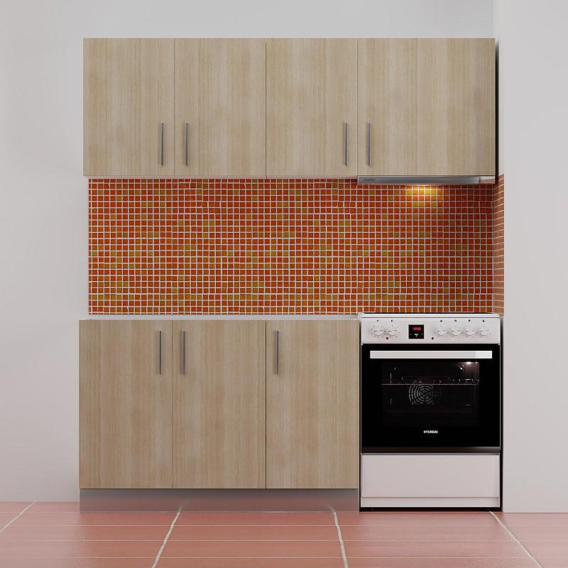 Κουζίνα ΕΡΗ Σετ 5 κουτιών Ανοιχτό Δρύς Άνω Κουτία Μήκος 180cm Κάτω Κουτιά 120cm FIL-6205SET