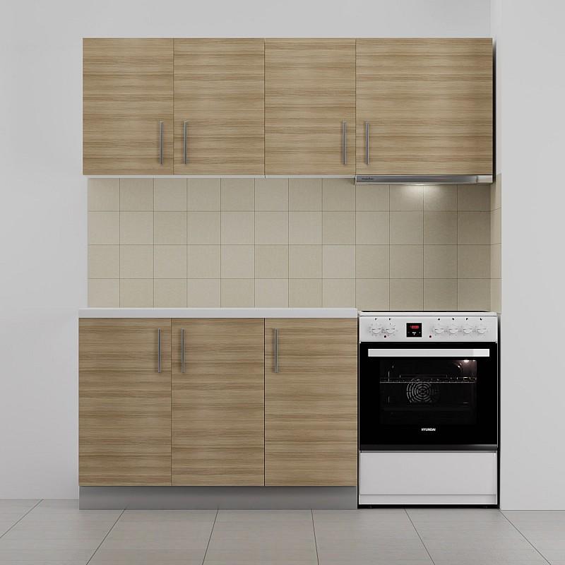 Κουζίνα ΕΡΗ Σετ 5 κουτιών Δρυς με Έντονα νερά Άνω Κουτία Μήκος 180cm Κάτω Κουτιά 120cm FIL-6500SET