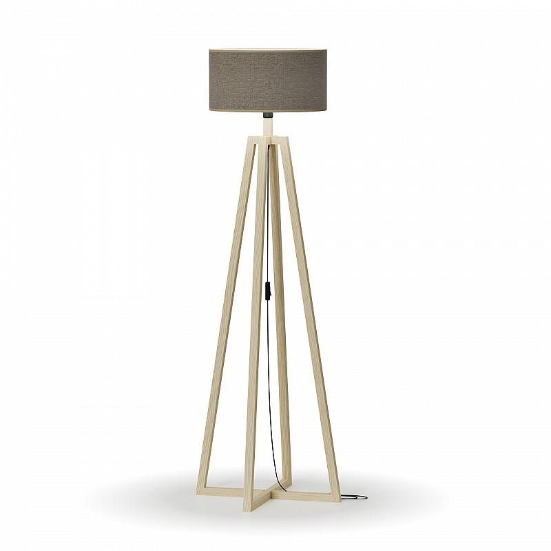 Φωτιστικό Δαπέδου Μονόφωτο Καφέ καπέλο ξύλινη βάση E27 50*50*147cm MEC-2718-1BROWN