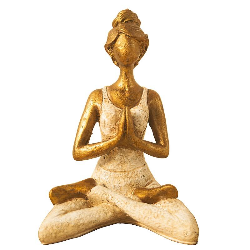 Επιτραπέζιο Διακοσμητικό Αγαλματίδιο   Yoga Body   Χρυσό-Μπέζ 16x12x23cm O-ABA10