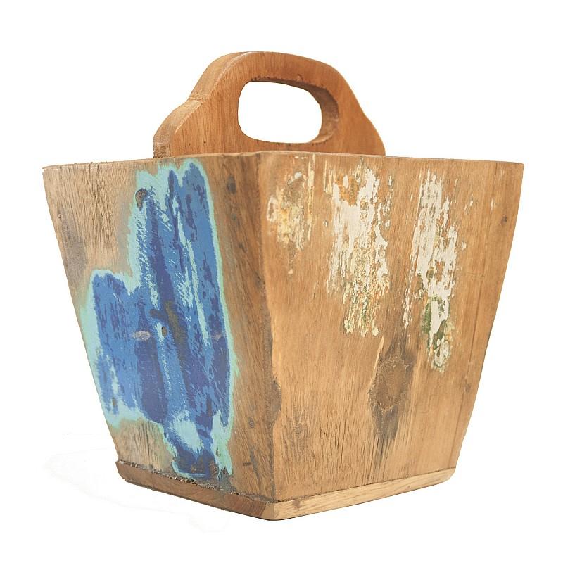 Διακοσμητική Θήκη Περιοδικών Vintage Φυσικό Ξύλο με Διάφορα Χρώματα 22x22x28cm O-ABA24