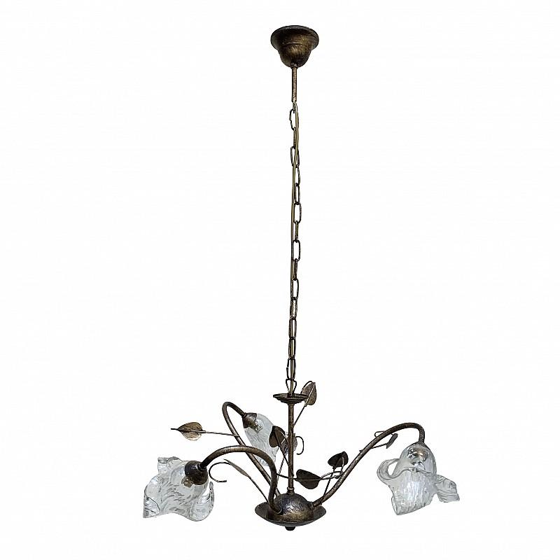 Κρεμαστό Φωτιστικό Τρίφωτο Μεταλλικό με Γυαλιά Χρυσή Πατίνα G9 Φ50x100cm