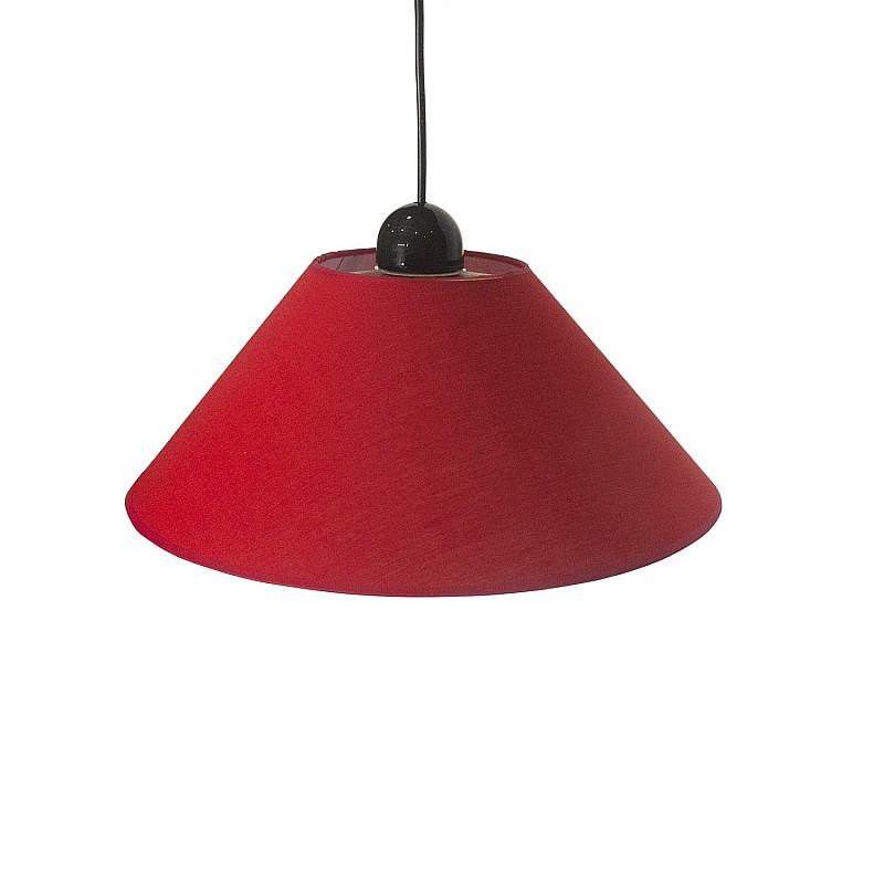 Φωτιστικό Κρεμαστό Μονόφωτο Υφασμάτινο Κόκκινο Ε27 Φ35x65cm TOP-2300