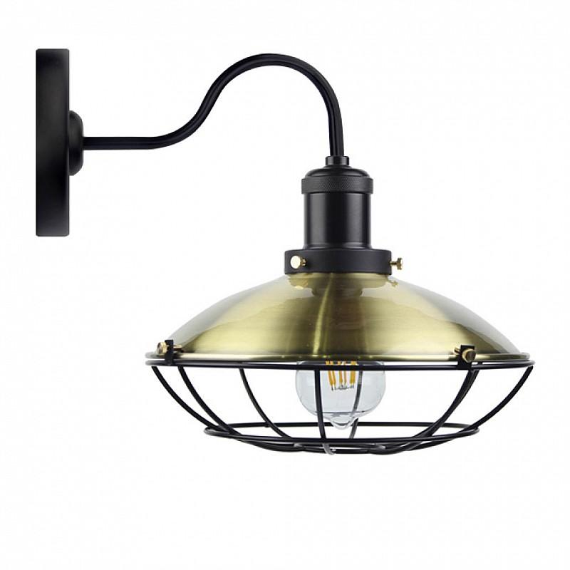 Φωτιστικό Τοίχου Μεταλλικό Χρώμα Μπρονζε με μαύρες λεπτομέρειες E27 40X25X30cm DD-MA-0306