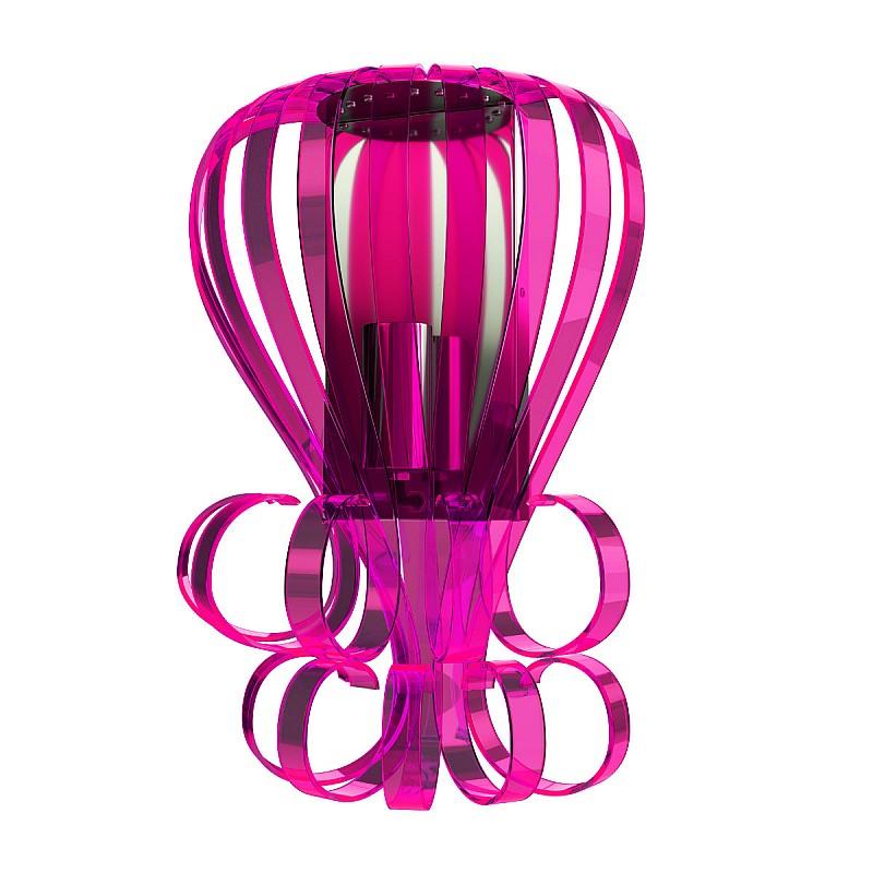 Μοντέρνο Φωτιστικό τοίχου Plexi Glass Φούξια E14 26*12*30εκ F6-24