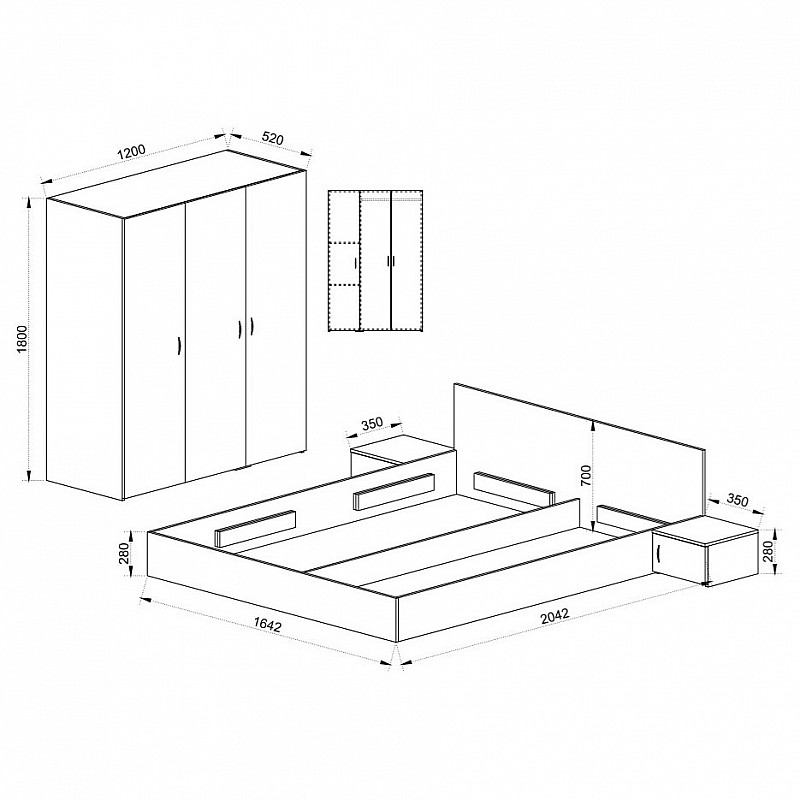 ΣΕΤ Κρεβατοκάμαρας BERIZ Κρεβάτι Διπλό+Ντουλάπα+2 Κομοδίνα+Βάση Στρώματος Σονόμα 160x200 IR-BERIZ