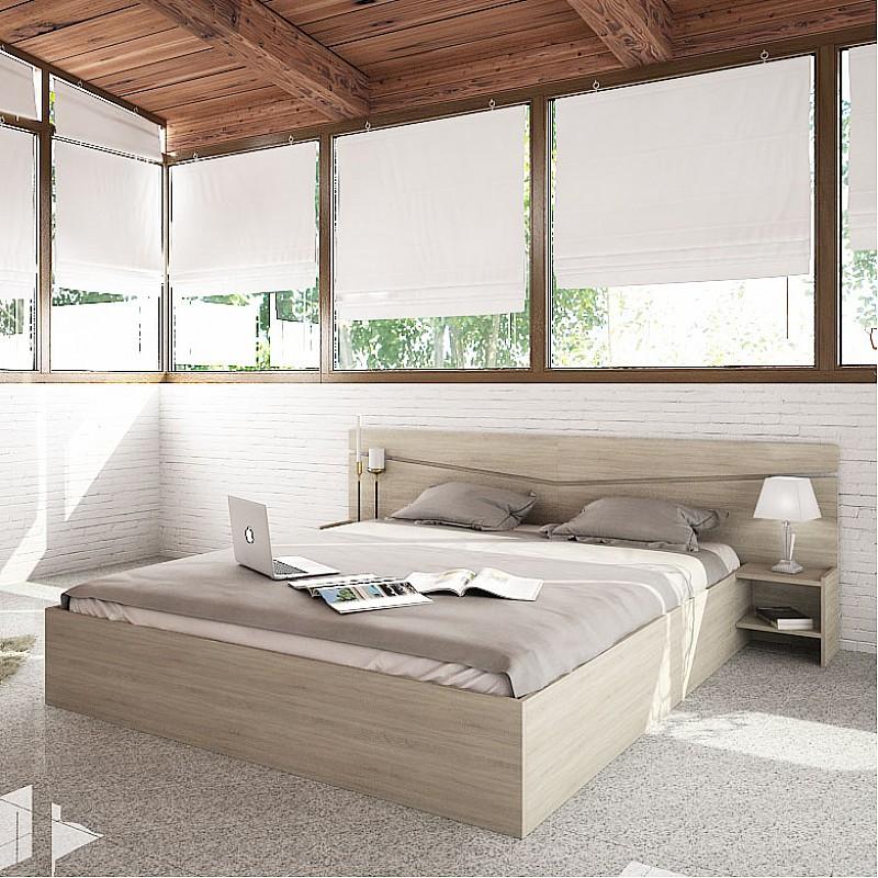 Κρεβάτι CITY2007 Διπλό με κομοδίνα και στρώμα σκούρο Sonoma 160x200cm IR-CITY2007SONOMA