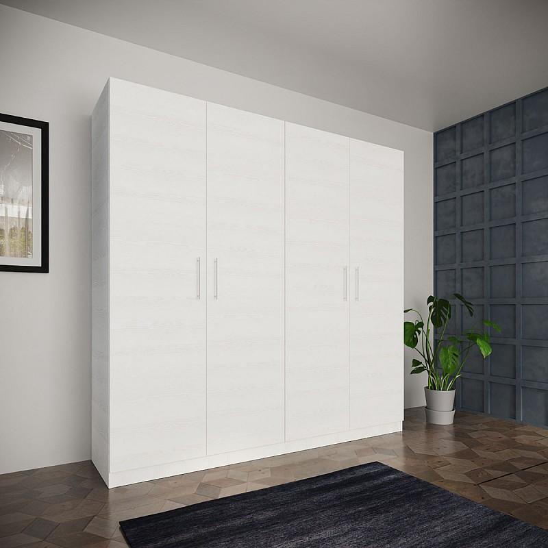 Ντουλάπα Τετράφυλλη LANA Χρώμα Λευκό 205,2x52x204cm IR-LANA