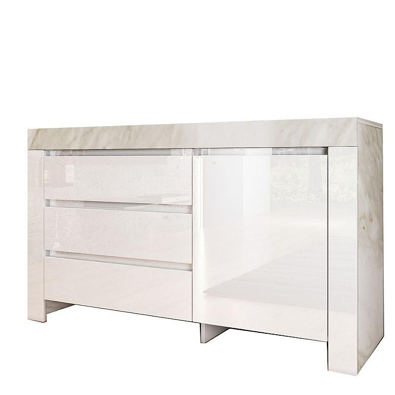 Μπουφές STANDART Λευκό γυαλιστερό εφέ Μάρμαρο 137x45x90cm IR-STANDARTCOM