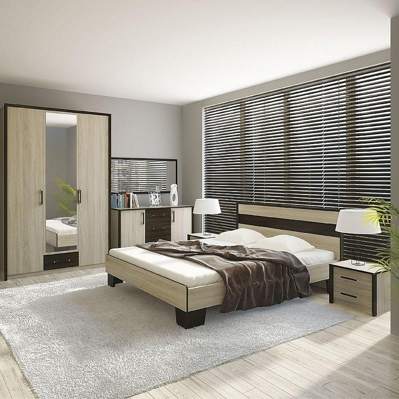 Σετ Κρεβατοκάμαρας 5 Κρεβάτι Διπλό+Σομιέ+Ντουλάπα+Κομοδίνο+Μπουφές Σονόμα-Βέγκε 160x200 SCARLETSET2