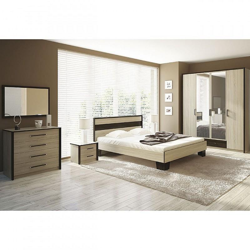 Σετ Κρεβατοκάμαρας Κρεβάτι Διπλό+Σομιέ+Ντουλάπα+Κομοδίνο+Συρταριέρα Σονόμα-Βέγκε 160x200 SCARLETSET3