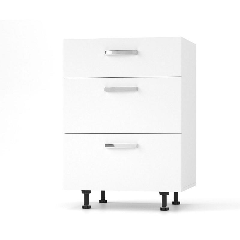 CHARLOTΤE Συρταριέρα 60x46.5x82εκ με μεταλλικά χερούλια Λευκό SO-CD603SW