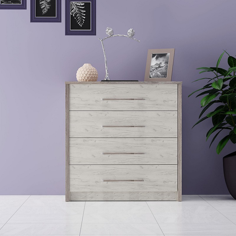 Συρταριέρα Sara Λευκό με νερά και Γκρί Μαγαδασκάρης 80x46x82εκ 4 Συρτάρια SO-SARAKOM800