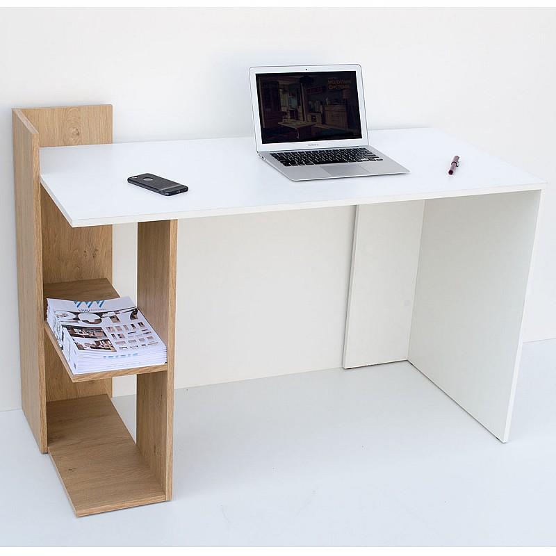 Γραφείο 120x55x85 Λευκό-με Φυσικό Μοντέρνα Σχεδίαση TO-DESKHOSHELF
