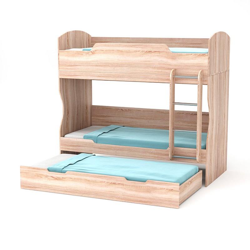 Κρεβάτι Κουκέτα Μονό 90x200cm/90x190cm Φυσικός Δρυς με τάβλες TO-HOSTEL