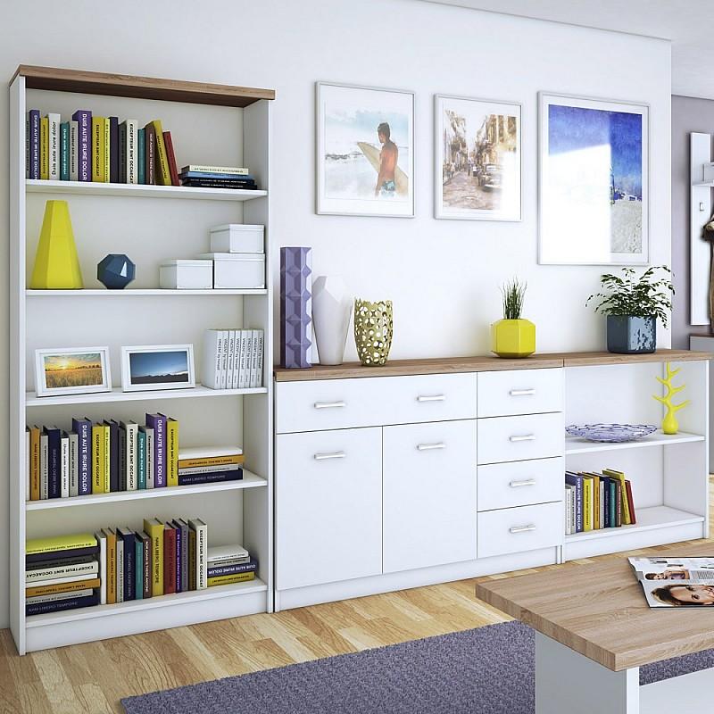 Σετ μπουφέ με βιβλιοθήκες 3 τεμ. 280X33x183cm Λευκό-Sonoma TO-TOPMIXSET4