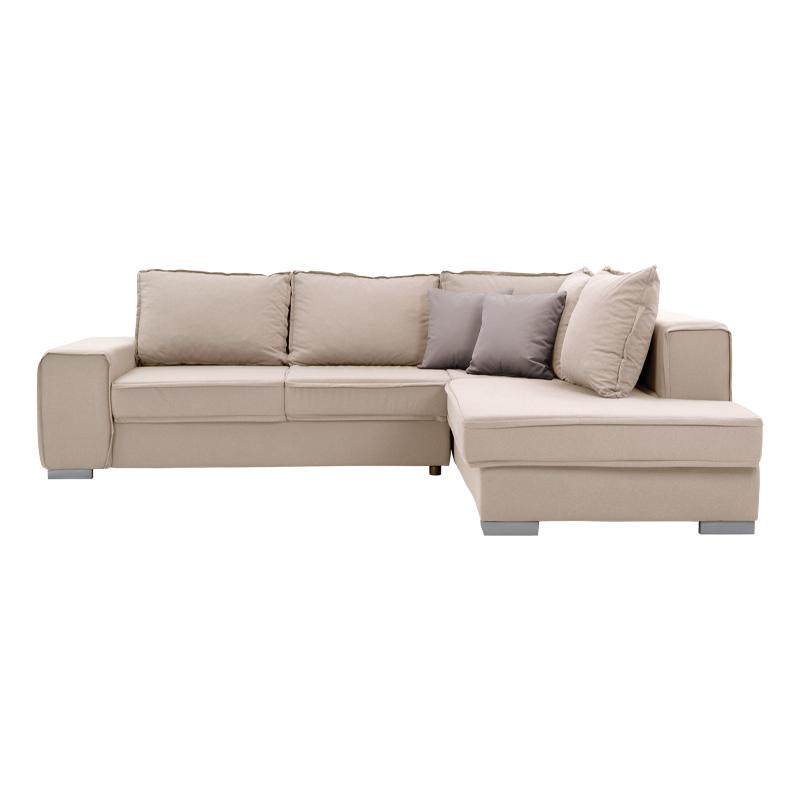 Καναπές γωνία δεξιά New Amelia μπεζ με καφέ 260*205 με αποσπώμενα μαξιλάρια Fylliana 831-00-726