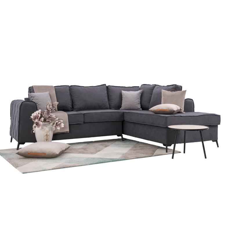 Καναπές γωνία δεξιά New Gala γκρι-ανοιχτό γκρι 280*210*85 με αποσπώμενα μαξιλάρια Fylliana 831-00-742