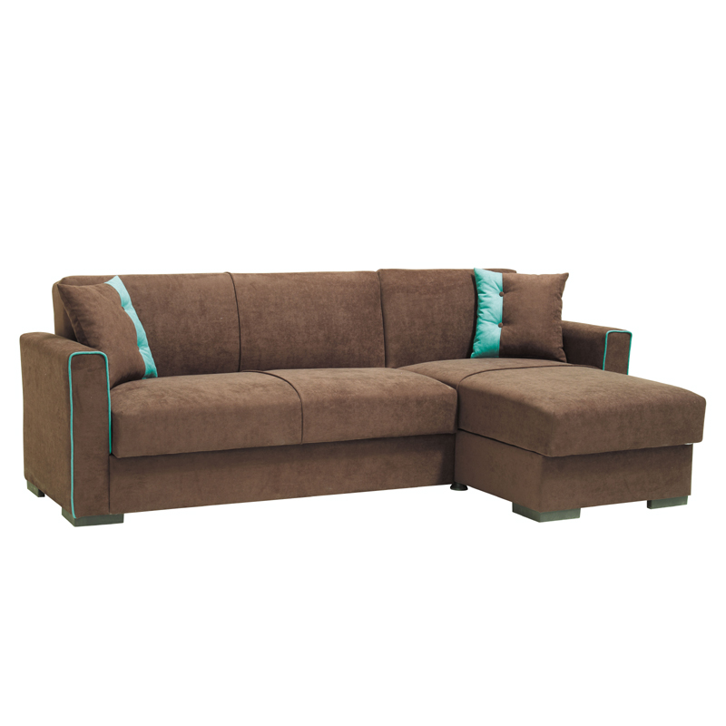 Καναπές γωνιακός Emily καφέ με μπλέ ρίγα 240*146*85