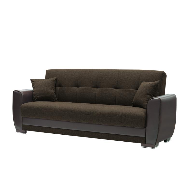 Καναπές τριθέσιος vera καφέ ύφασμα με τεχνόδερμα καφέ 222*89*84