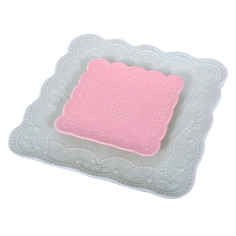 Σετ πάστας 7 τεμ. ροζ-βεραμάν πορσελάνη