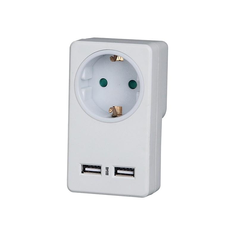 Πρίζα σούκο με 2 θύρες USB 2100mA Λευκή KF-GZB-01/01U