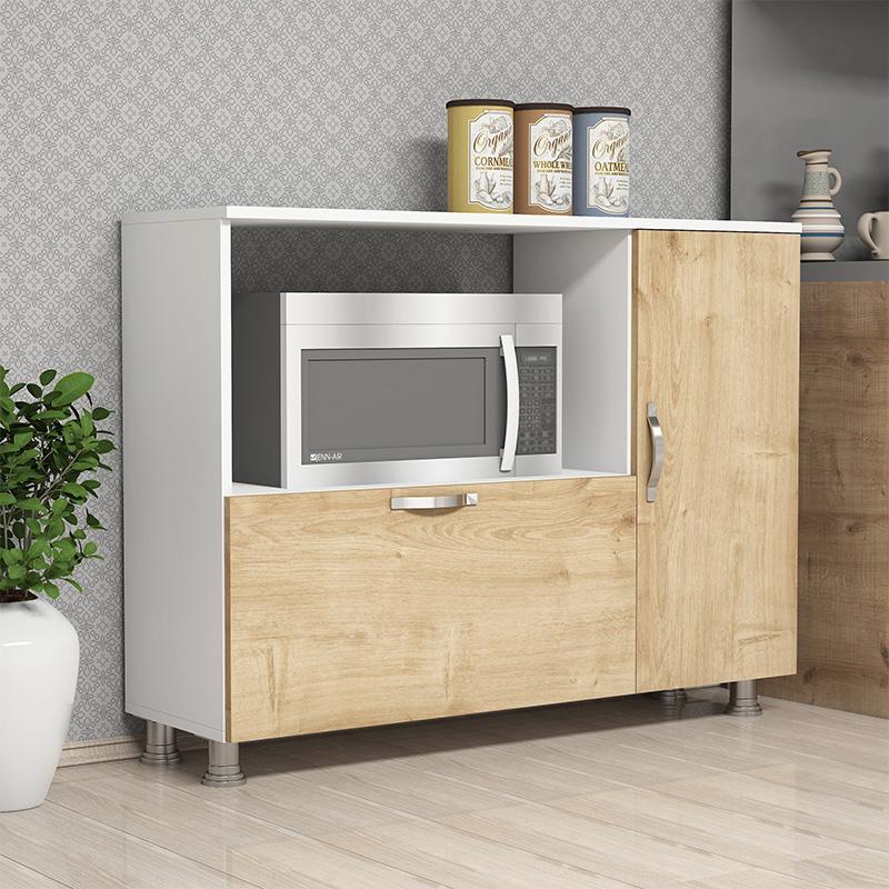 Μπουφές - Ντουλάπι Κουζίνας Koctas Pakoworld Χρώμα Λευκό - Φυσικό 118X35X90Εκ
