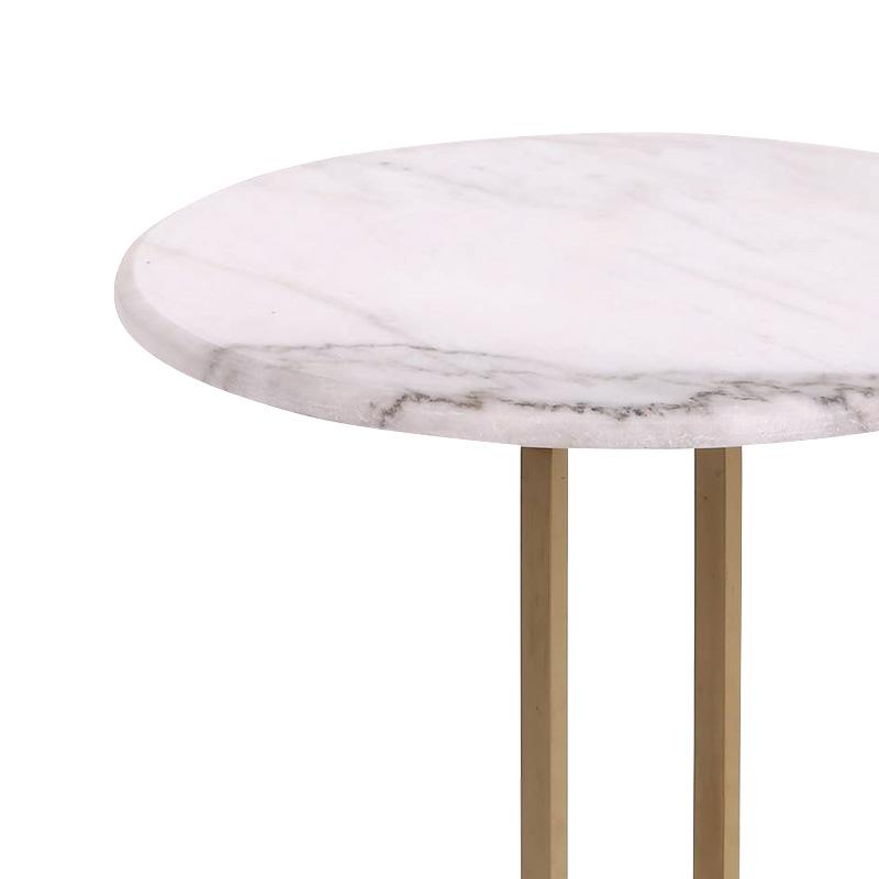Βοηθητικό Τραπέζι Trevor Pakoworld Μάρμαρο Λευκό-Χρυσό Φ50X54,5Εκ