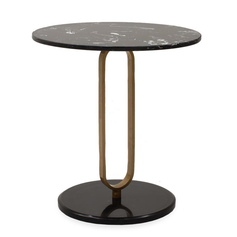 Βοηθητικό Τραπέζι Trevor Pakoworld Μάρμαρο Μαύρο-Χρυσό Φ50X54,5Εκ