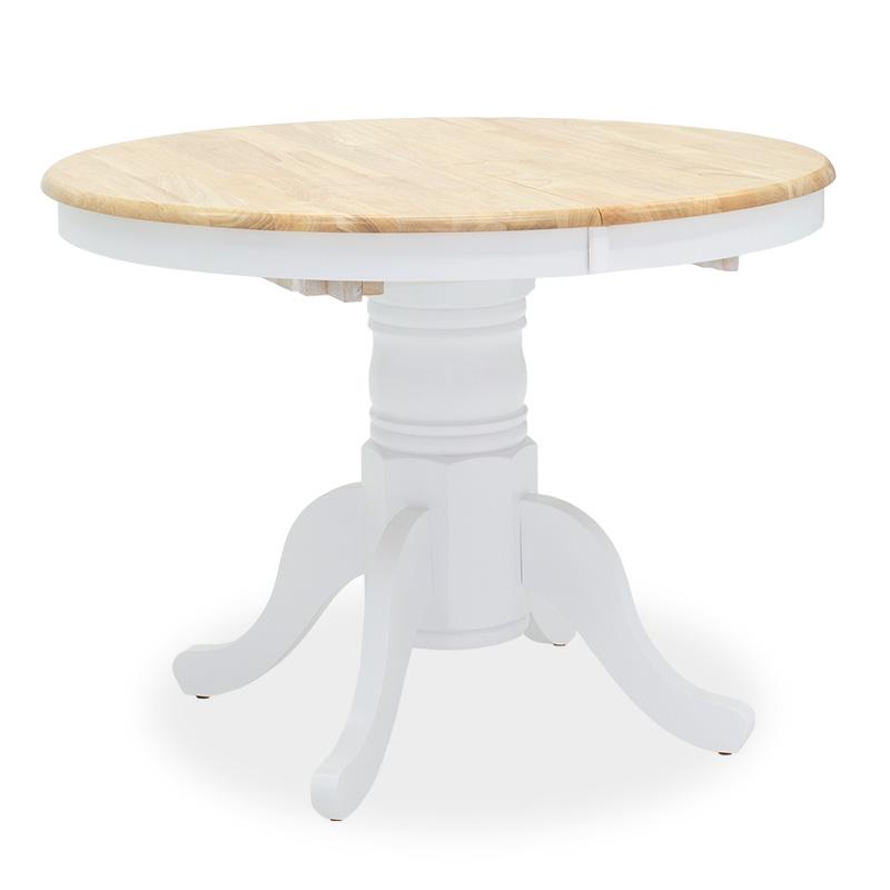 Tραπέζι Lars Pakoworld Επεκτεινόμενο Ξύλο-Mdf Λευκό-Φυσικό Φ100(+38)X100X75Εκ