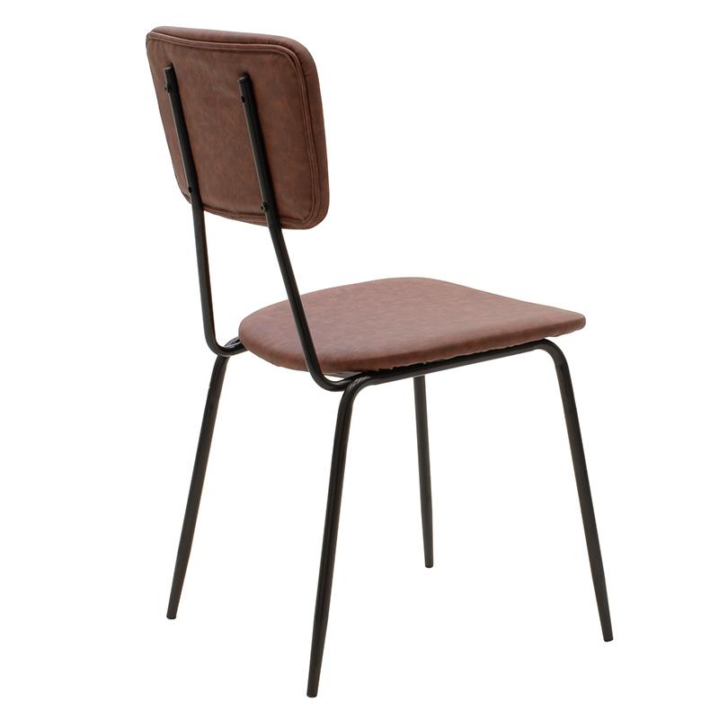 Καρέκλα Tania Pakoworld Μαύρο-Pu Γκρι Antique