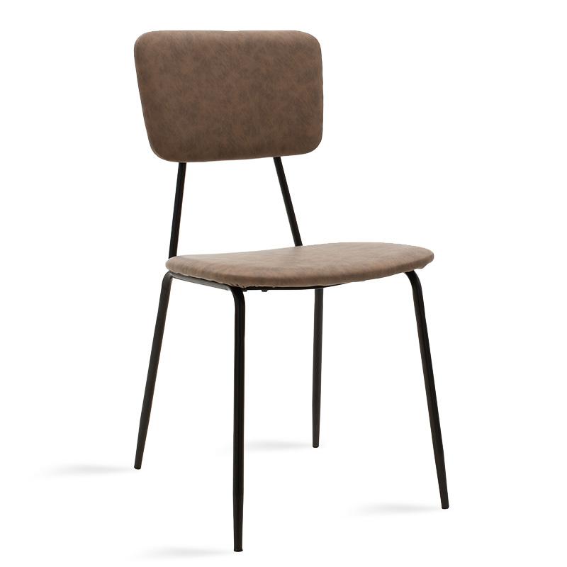 Καρέκλα Tania Pakoworld Μαύρο-Pu Ανοικτό Καφέ Antique
