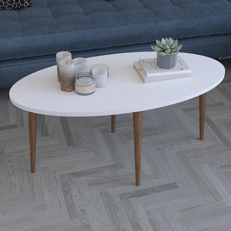 Τραπέζι Σαλονιού Barton Pakoworld Λευκό-Καφέ 90X45X40Εκ