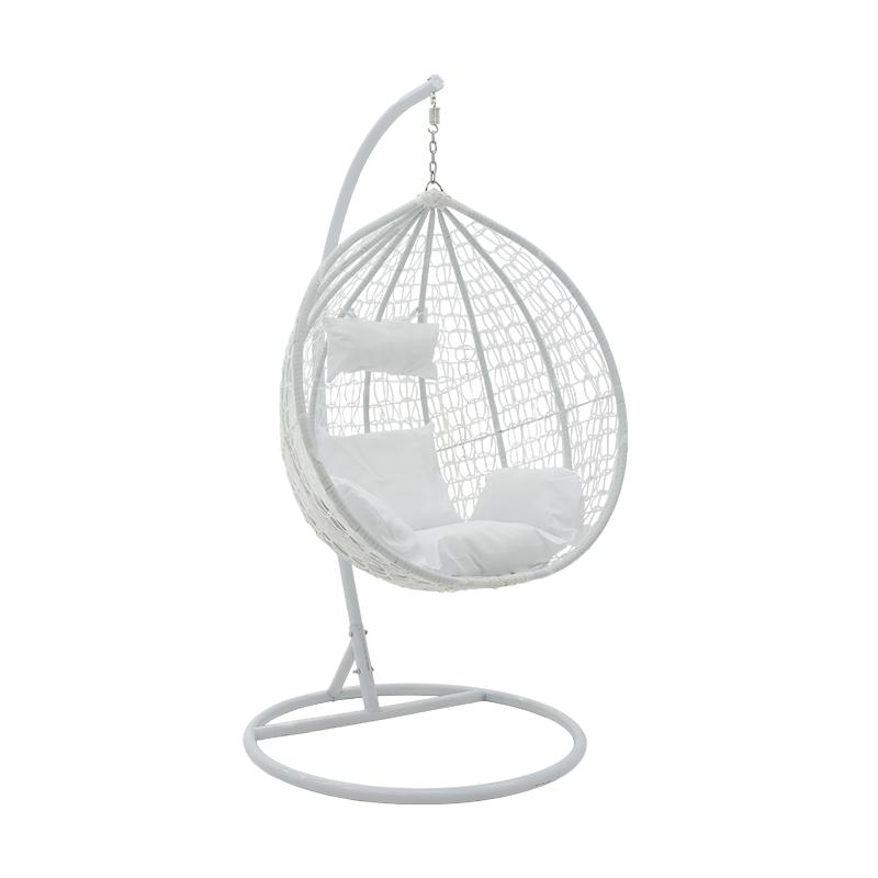 Κούνια Κήπου Zafer Pakoworld Κρεμαστή Μέταλλο-Pp-Μαξιλάρι Λευκό 106X103X200Εκ