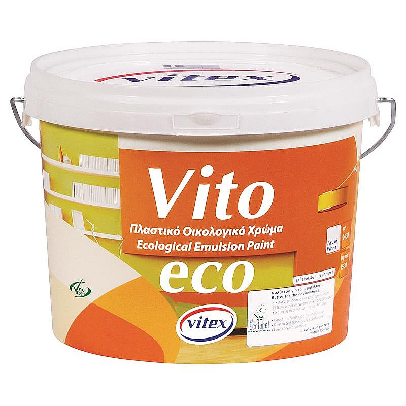 Vito eco πλαστικό χρώμα λευκό Vitex 9L