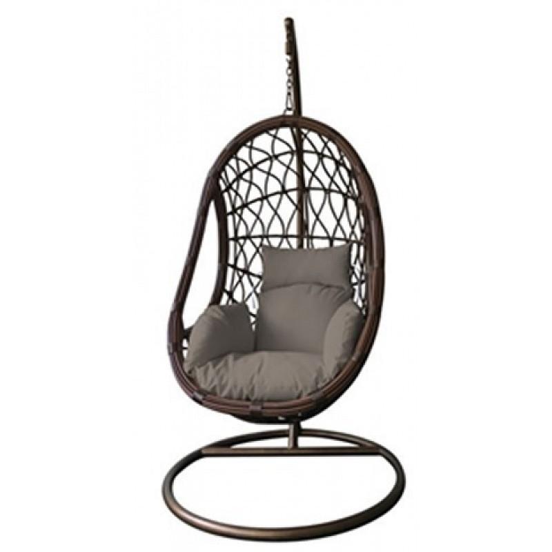 Κρεμαστή πολυθρόνα ανθρακί με ΡΕ RATTAN σκούρο γκρι Velco 184-6157