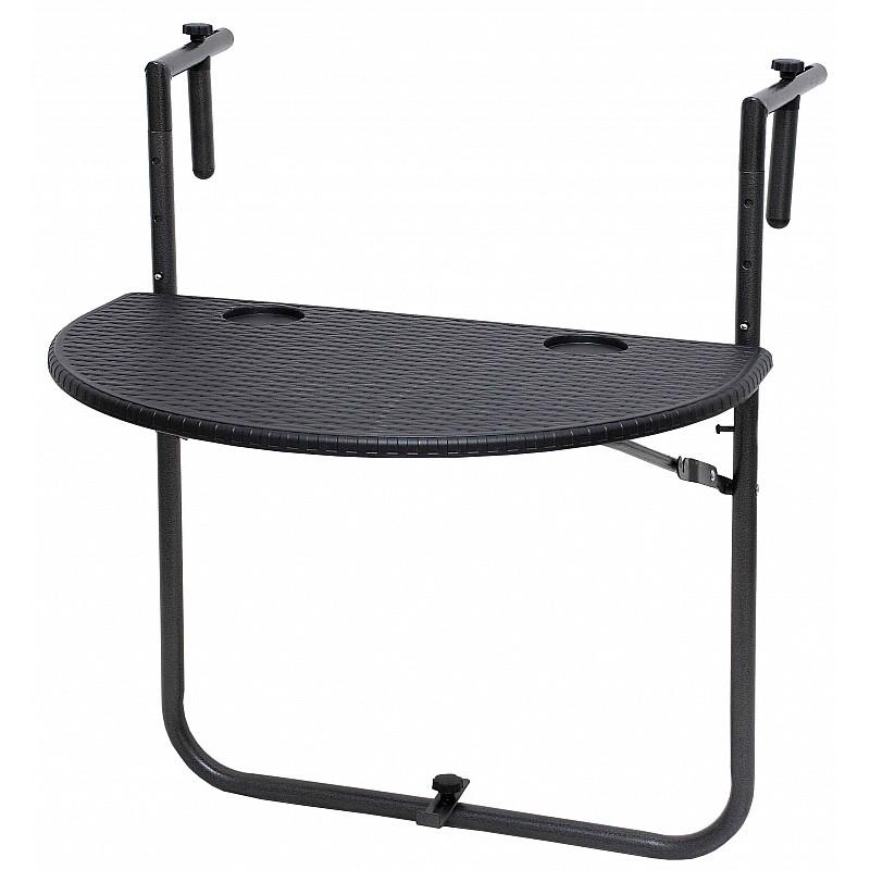 Τραπέζι μπαλκονιού μεταλλικό PP με σχέδιο Rattan Velco 31-31459