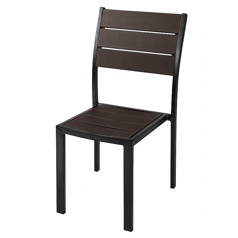 Καρέκλα στοιβαζόμενη μεταλλική με σχέδιο απομίμησης ξύλου 57x45,5x88,5cm Velco 31-31923