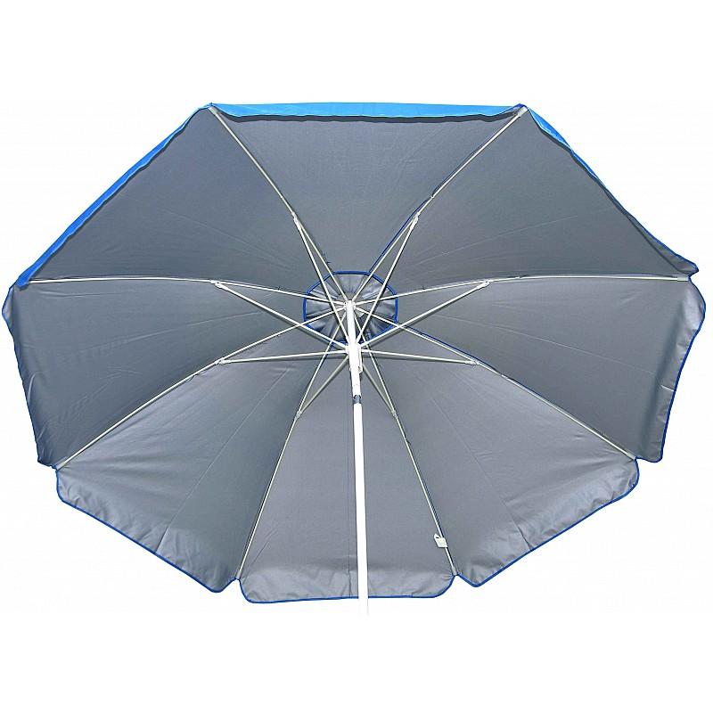 Ομπρέλα βεράντας-κήπου-θαλάσσης μπλε με ασημί εσωτερική επίστρωση 2m μεταλλική Campus 371-0408-1