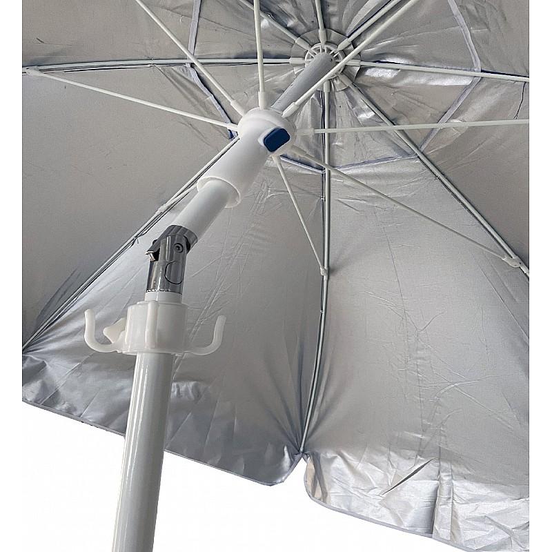 Ομπρέλα βεράντας-κήπου-θαλάσσης μπλε με εσωτερική  ασημί επίστρωση 2m μεταλλική Campus 371-5884-1