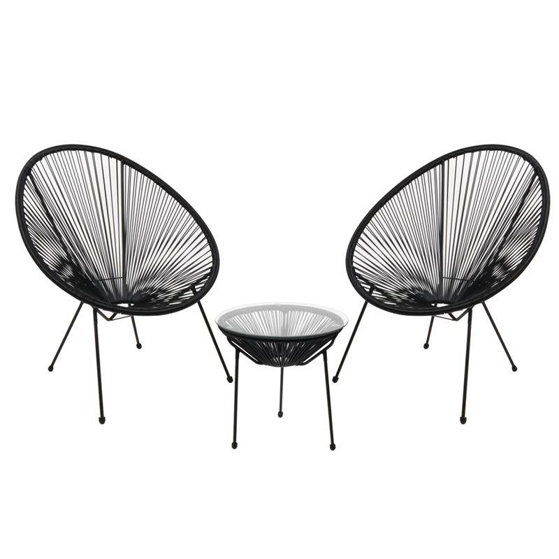 ACAPULCO Set Κήπου - Βεράντας: Τραπέζι + 2 Πολυθρόνες Μέταλλο Μαύρο / Rattan Μαύρο