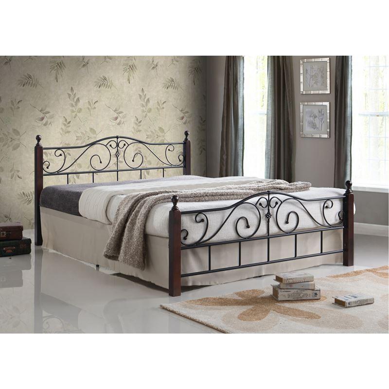 ADEL Κρεβάτι Διπλό Μέταλλο Μαύρο / Ξύλο Καρυδί