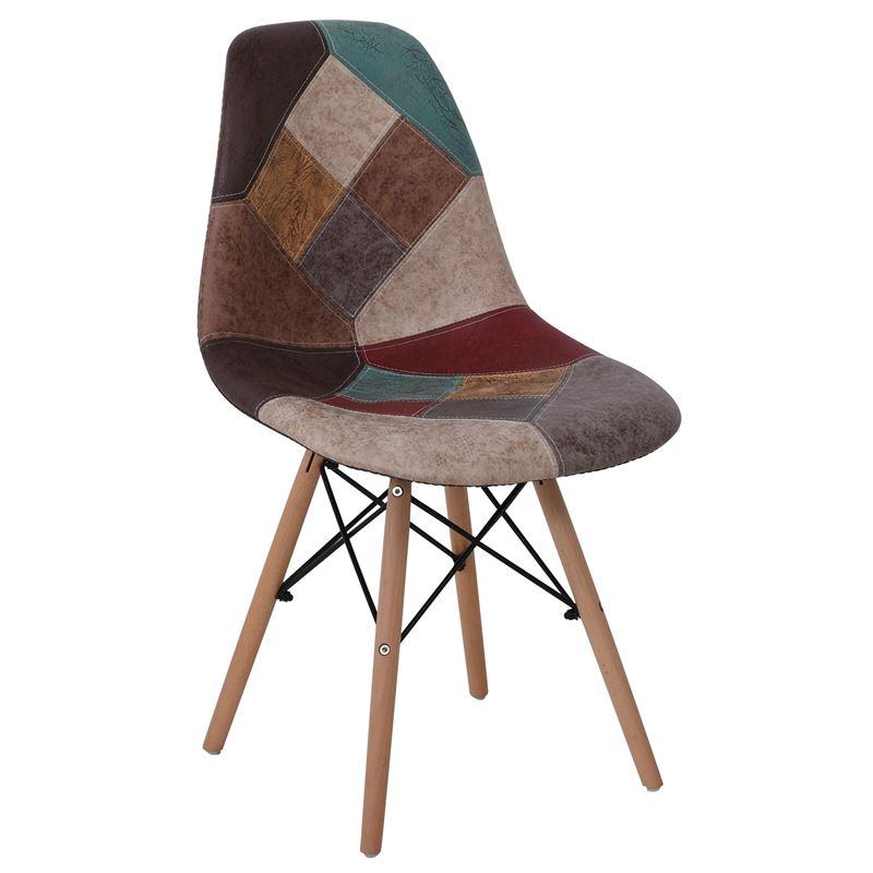 ART Wood Καρέκλα Ξύλο - PP Ύφασμα Patchwork Καφέ