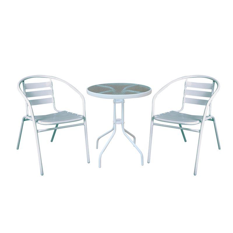 BALENO - FUNKY Set Βεράντας - Κήπου : Τραπέζι + 2 Πολυθρόνες Μέταλλο - Αλουμίνιο Άσπρο