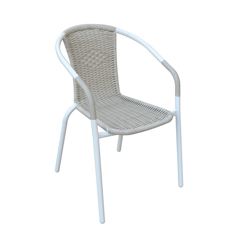 BALENO Πολυθρόνα Μέταλλο Βαφή Άσπρο - Wicker Beige