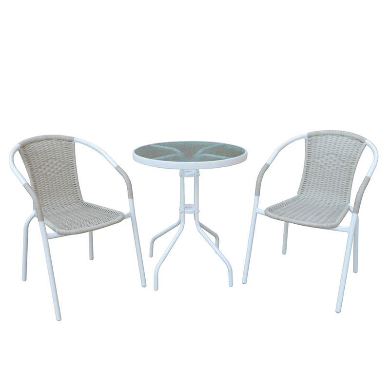 BALENO Set Κήπου - Βεράντας : Τραπέζι + 2 Πολυθρόνες Μέταλλο Άσπρο / Wicker Beige