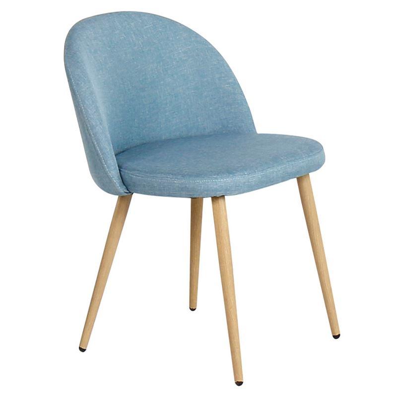 BELLA Καρέκλα Tραπεζαρίας Κουζίνας - Μέταλλο Βαφή Φυσικό Ύφασμα Light Blue
