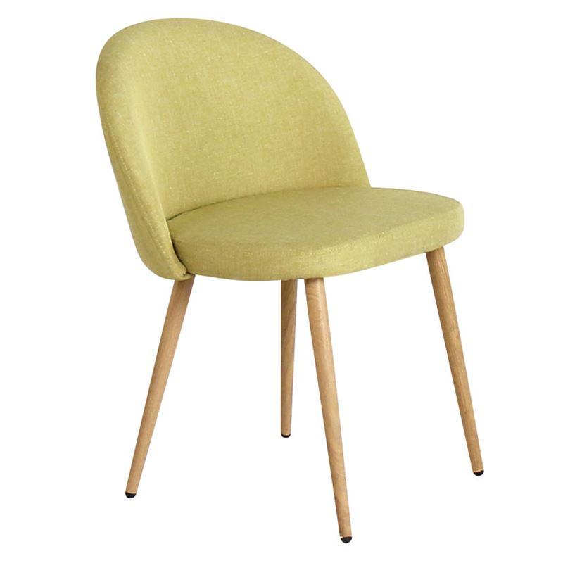 BELLA Καρέκλα Τραπεζαρίας Κουζίνας - Μέταλλο Βαφή Φυσικό Ύφασμα Lime