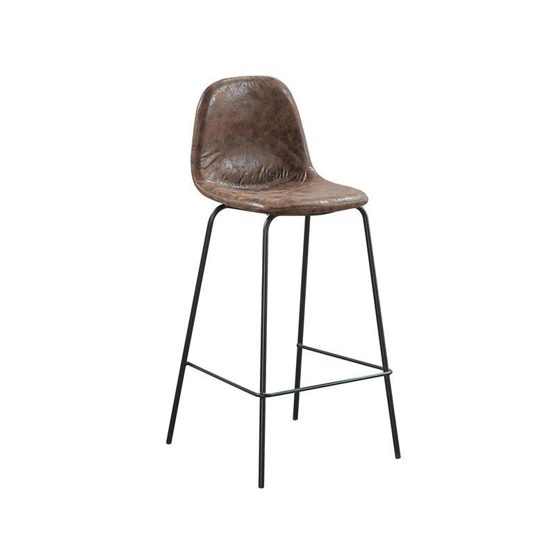 CELINA Σκαμπώ BAR (καθ.67cm) Μέταλλο Βαφή Μαύρο / Ύφασμα Suede Καφέ