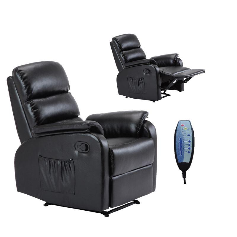 COMFORT Massage Πολυθρόνα Relax Σαλονιού - Καθιστικού / PU Μαύρο